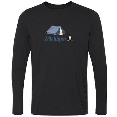 Camping & Camp Fire - Michigan Mens Moisture Wicking Long Sleeve T-Shirt (Small