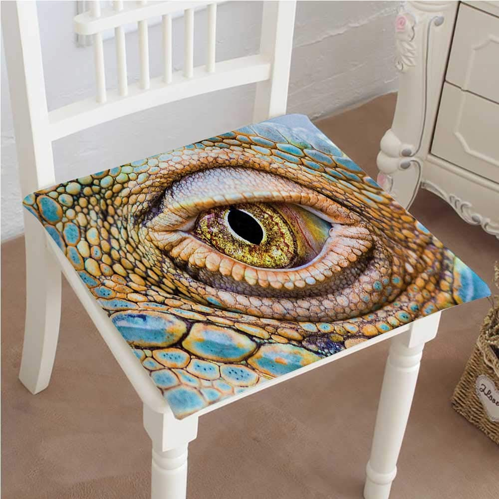 Mikihome Outdoor Chair Cushion Reptile Graphic of Creepy Eye of Iguana with Details in Skin Reptiles Look Tropical Comfortable, Indoor, Dining Living Room, Kitchen, Office, Den, Washable 30''x30''x2pcs by Mikihome