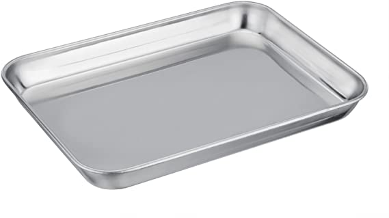 TeamFar Pure Stainless Steel Toaster Oven Pan Tray Ovenware