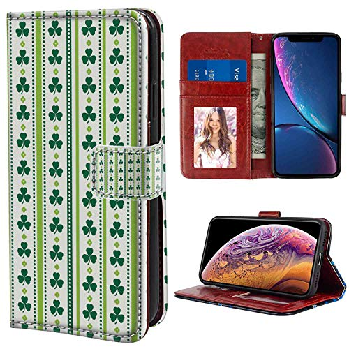 iPhone Xr Wallet Case, Floral Clovers Vertical Lines and Dots Irish Traditional Floral Pattern Lime Green Dark Green White PU Leather Folio Case with Card Holder and ID Coin Slot