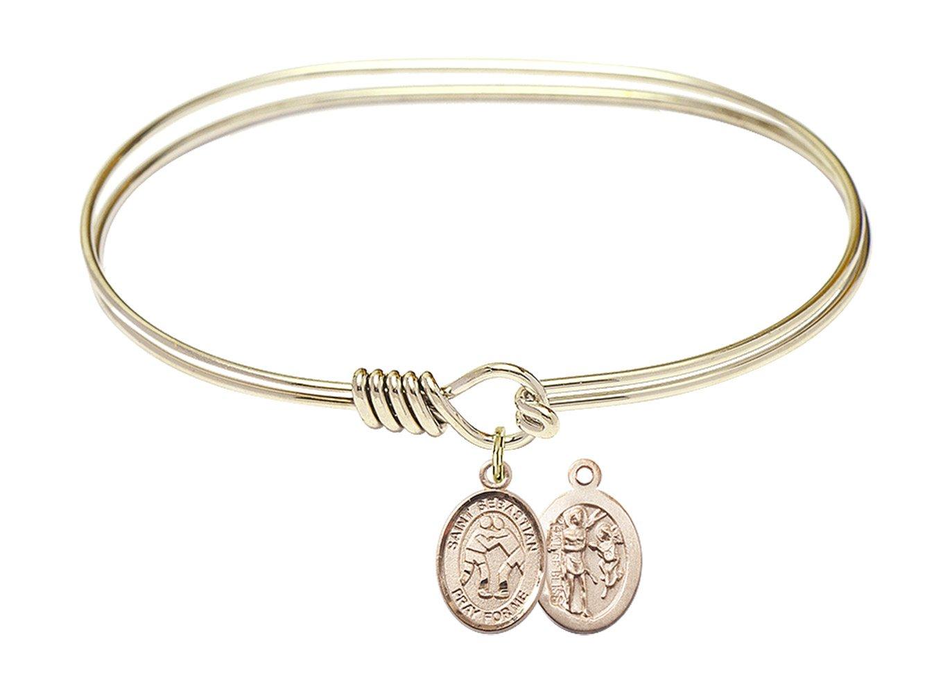 7 inch Oval Eye Hook Bangle Bracelet w/St. Sebastian/Wrestling in Gold-Filled by Bonyak Jewelry