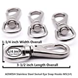 AOWISH 4-Pack Stainless Steel Swivel Eye Snap Hook
