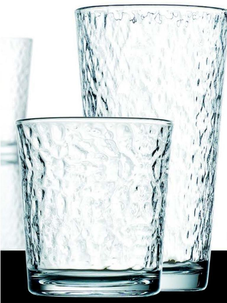 Set of 16 Durable Hammered Glass Drinking Glasses ~ Includes 8 Highball Glasses and 8 DOF Glasses ~ 16-piece Elegant Glassware Set GF Goods