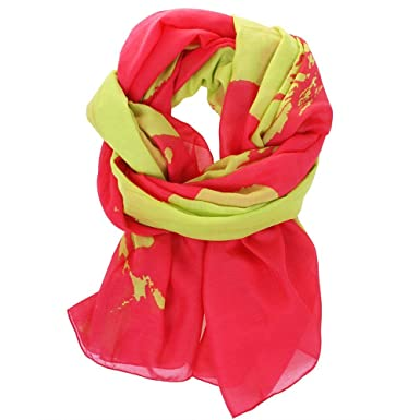 Barton pink scarf with lime green world map amazon clothing barton pink scarf with lime green world map gumiabroncs Images