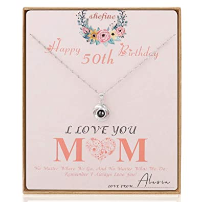 Shefine Mom 50th Birthday Gifts Rose Pendant I Love You Necklace 100 Language For