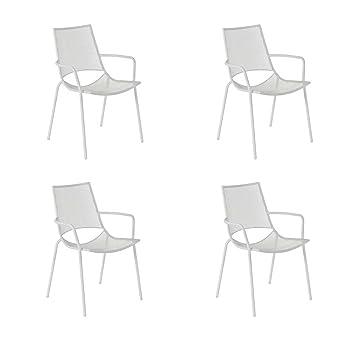 EMU Oferta 4 sillones apilable ala Blanco Bar Decoración ...