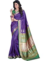 Craftsvilla Women's Purple Bangalore Silk Jacquard Saree with Blouse Piece