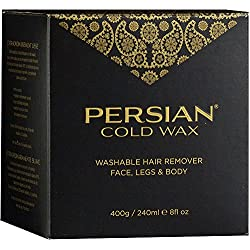 Persian Cold Wax Kit, Sugar Wax for Hair Removal Waxing Fine to Medium Hair Types Body, 8oz (240 ml) wax pot, 20 fabric strips, 2 spatulas