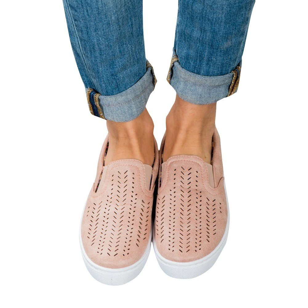 XMWEALTHY Women's Loafer Sneakers Casual Breathable Slip on Sport Flats Sandals Shoes Pink US 7.5