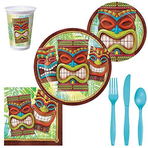 - Tiki Luau Party Supplies - Serves 8 Guests - Plates, Cups, Napkins & Silverware