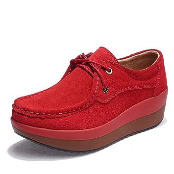 Fuxitoggo Zapatos con Suela de Rocker Mocasines con Cordones de Cuero de la Plataforma de Mujer (Color : Rojo, tamaño : EU 41): Amazon.es: Hogar