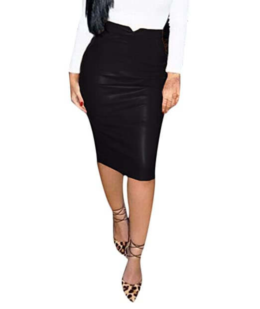 cdad77079cc IyMoo Women Slim Fit Faux Leather Pencil Midi Skirt Fashion Sexy ...