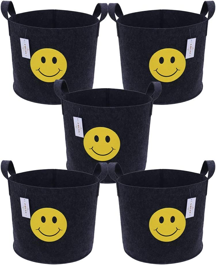FHQSX Thicken Aeration Fabric Pots with Handles 5-Pack 5 Gallon Grow Bags Black