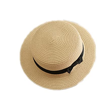 993584a3 LOVEHATS Women Straw Hat Lady Boater Sun Caps Ribbon Round Flat Top Straw  Beach Hat Panama