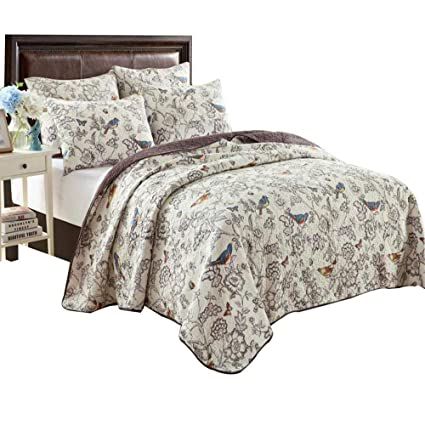 New Cotton 3pc Quilted Queen King Bedspread Beige Reversible Floral Vintage Chic Quilts, Bedspreads & Coverlets Home & Garden