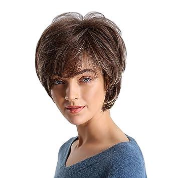 Amazon.com: Xindda Peluca sintética de pelo corto y rizado ...