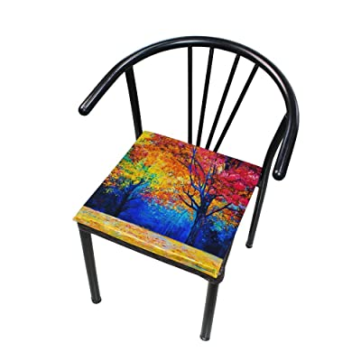 "Bardic HNTGHX Outdoor/Indoor Chair Cushion Autumn Tree Oil Painting Square Memory Foam Seat Pads Cushion for Patio Dining, 16"" x 16"": Home & Kitchen"