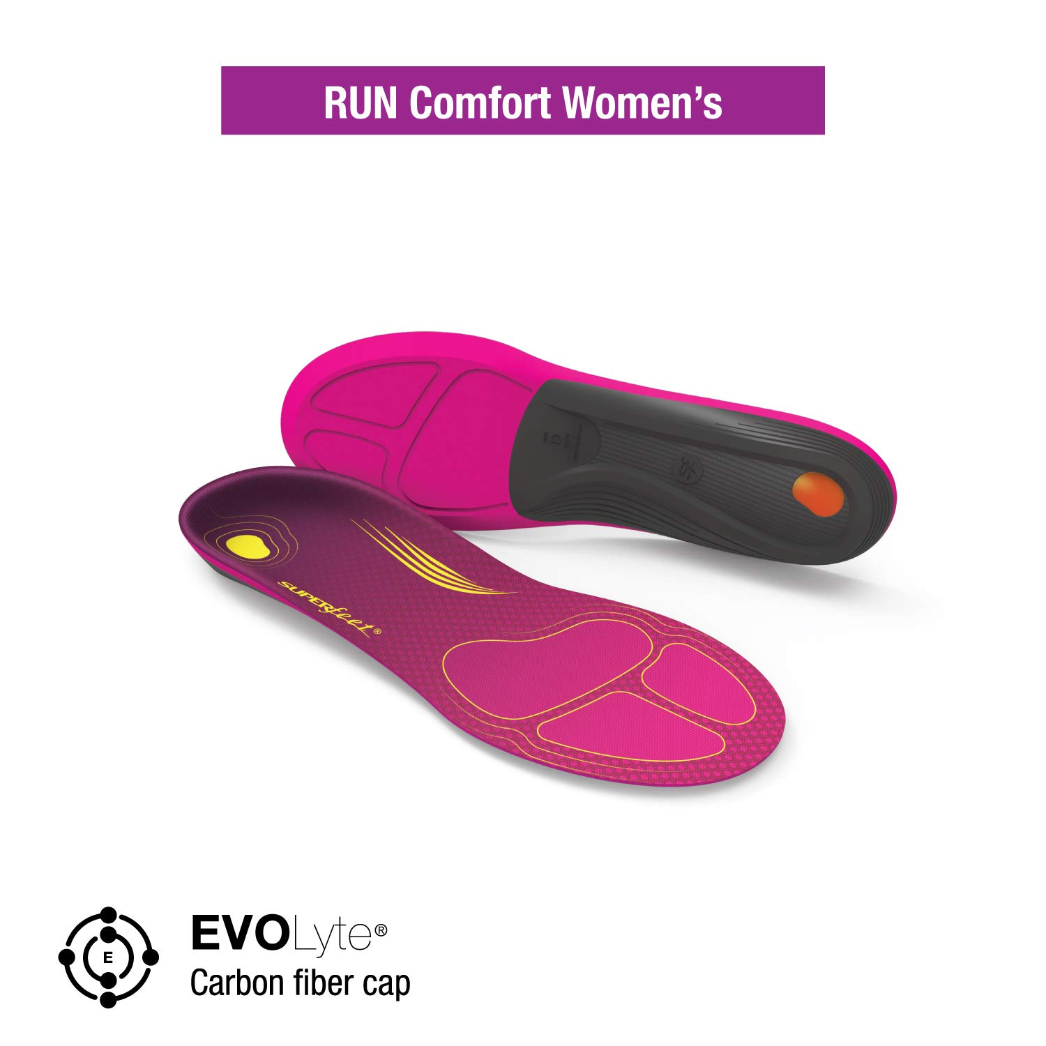 Superfeet Women's RUN Comfort Insoles Carbon Fiber Running Shoe Orthotic Inserts for Support and Cushion, Plum, Medium/D: 8.5-10 US Womens by Superfeet (Image #2)