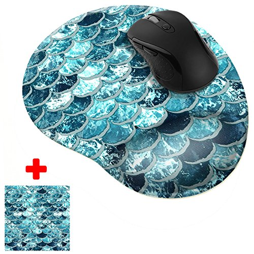 FINCIBO Mermaid Scales Blue Wave Comfortable Wrist Support Mouse Pad for Home and Office with Matching Microfiber Cleaning Cloth for Computer and Mobile Screens
