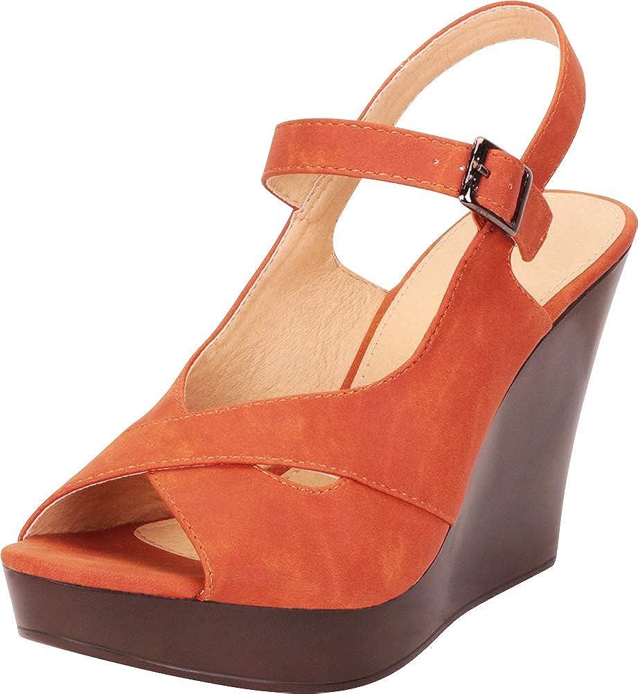 Brown Nbpu Cambridge Select Women's Peep Toe Crisscross Strappy Chunky Platform Wedge Sandal