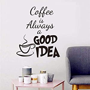 WOVTCP Coffee is Always A Good Idea Quotes Wall Stickers Coffee Cup Home Decor DIY Vinyl Adhesive Wall Decals for Kitchen