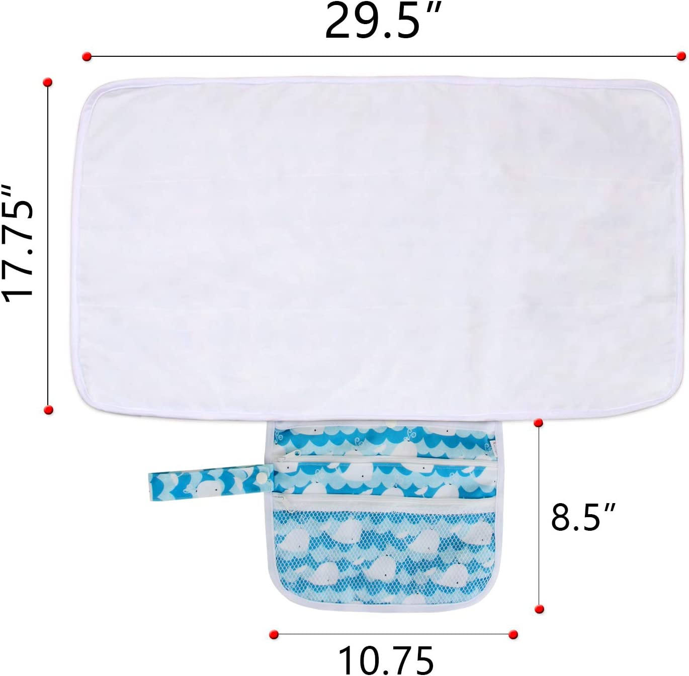 Foldable and Machine Washable Baby Changing Pad with Pockets Diaper Changing Clutch for Home or Travel Use Luxja Portable Diaper Changing Pad Polar Bears