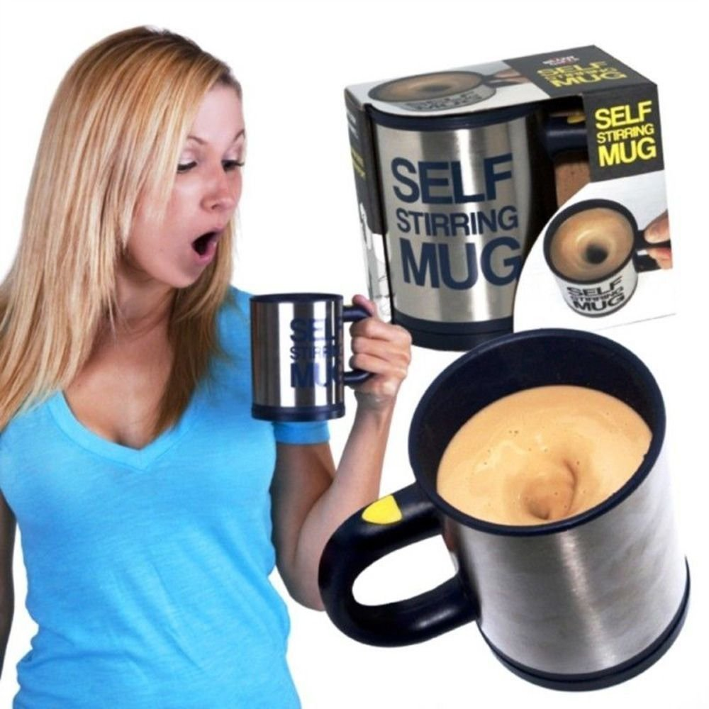 Self Stirring Mug, Eamall Auto Self Mixing Stainless Steel Coffee Cup for Office/Kitchen/Home/Travel, 14oz/400ml(Black)