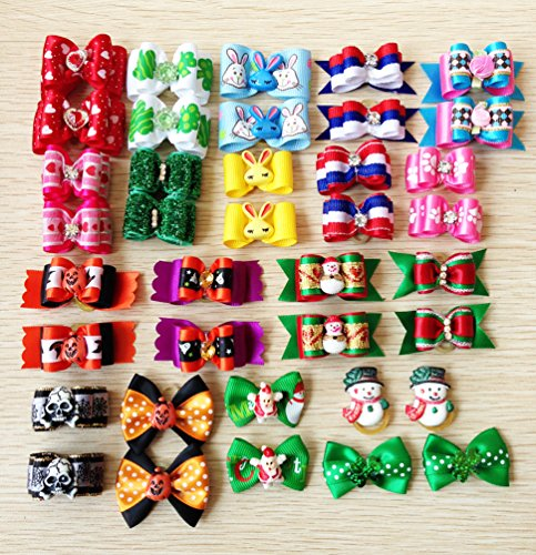 PET SHOW Assorted Styles Dog Hair Bows For Festival Party Pet Puppy Cats Hair Bow With Rubber Bands Accessories Pack of 20Pairs by PET SHOW (Image #2)