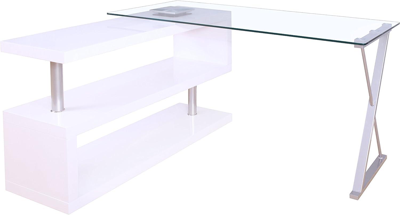 Acme Buck Office Desk, Clear Glass & White
