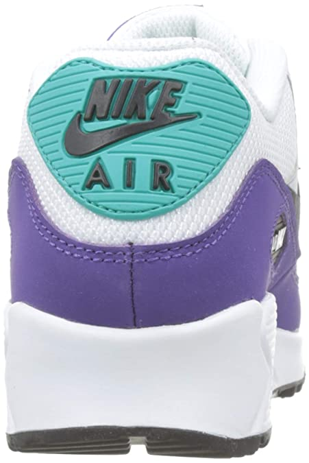 separation shoes 84254 081bf Amazon.com   Nike Men s Air Max 90 White Black Hyper Jade Court Purple  Leather Casual Shoes 7.5 M US   Road Running