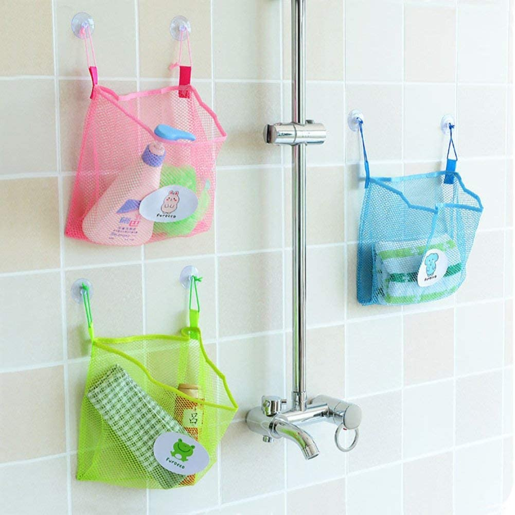 Fliyeong Bathroom Organizer Net Baby Bath Time Tidy Storage Toy Suction Cup Mesh Bag Sky Blue Cost-Effective