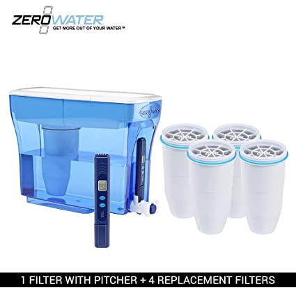 ZeroWater 23-Cup Pitcher with 5 Replacement Filter and Free Water Quality Meter