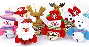 Alodidae Christmas Tree Ornaments, Small Christmas Decorations for Home, Plush Hanging with Bells Decor for Xmas Tree, Santa/Snowman/Reindeer/Bear (8pcs)