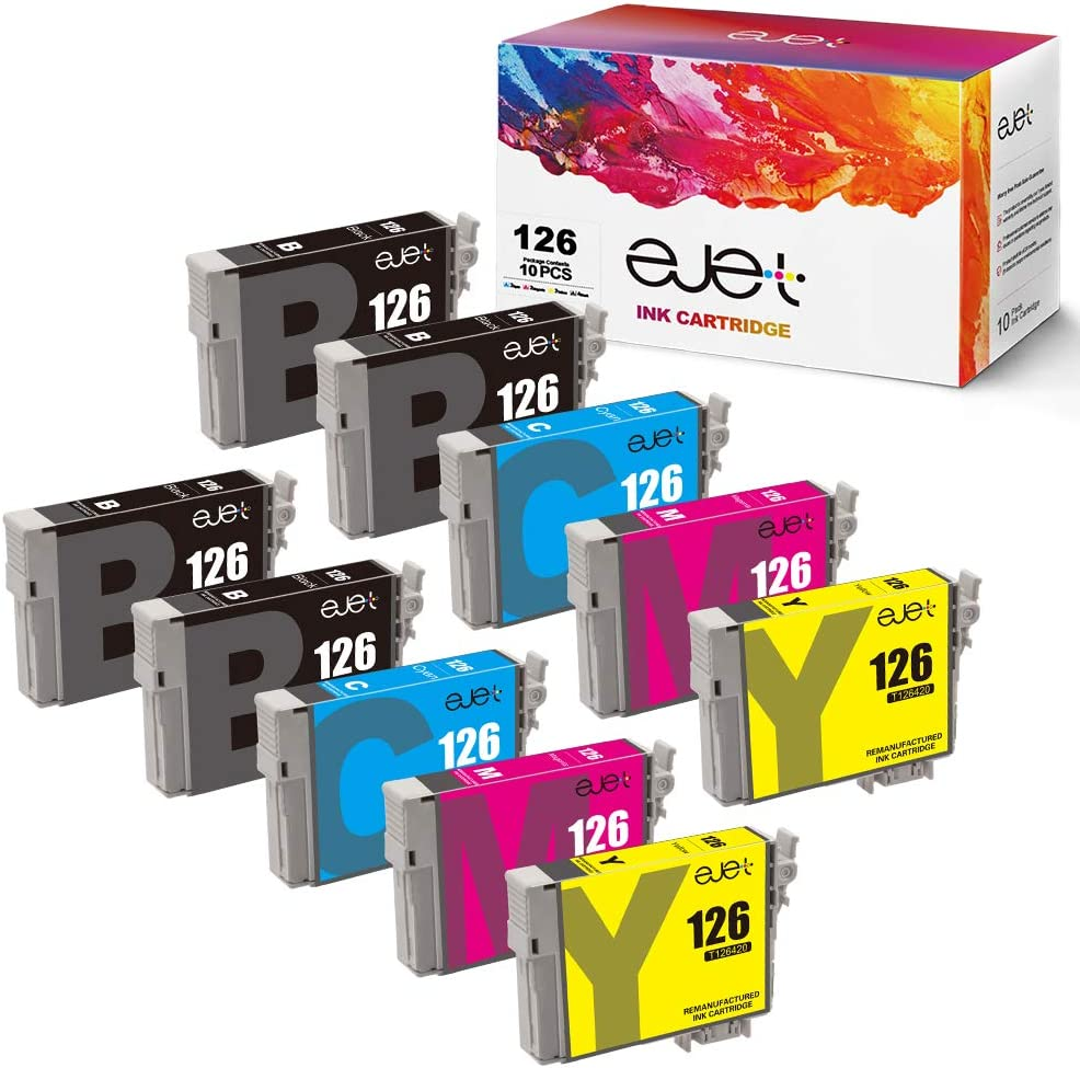 ejet Remanufactured Ink Cartridge Replacement for Epson 126 T126 to use with Workforce 545 645 845 630 840 WF-3520 WF-3540 WF-7520 WF-7010 Stylus NX430 (4 Black, 2 Cyan, 2 Magenta, 2 Yellow) 10 Pack