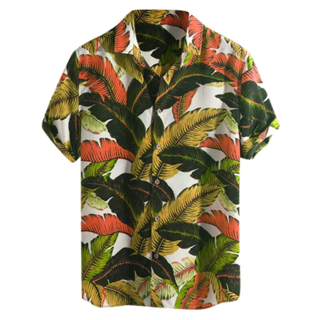 Dumanfs Mens Tops Hawaiian Beach Printed Button Down Round Collar Short Sleeve Loose Shirts