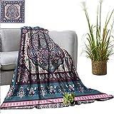 Weighted Blanket for Kids Ethnic,Bohemian Hippie Mandala Arabic Paisley Oriental Asian Design,Purple Pale