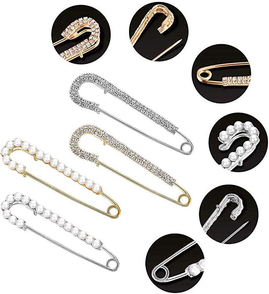 4 St/ück Damen Brosche,Sicherheitsnadel Brosche Clip f/ür Damen Nadel Pullover Schal Mantel Schmucknadel Faux Kristall und Perle Broschen,2 Stilen