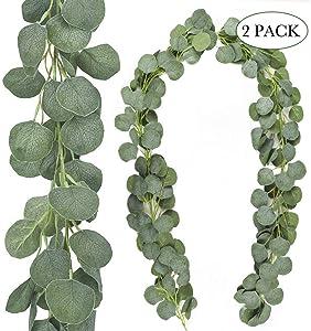 AGEOMET 2 Packs Artificial Vines Silk Eucalyptus Garland Greenery Faux Silver Dollar Eucalyptus for Wedding Backdrop Arch Decor