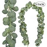 AGEOMET 2 Packs Artificial Eucalyptus Garland Greenery Faux Silver Dollar Eucalyptus for Wedding Backdrop Arch Decor