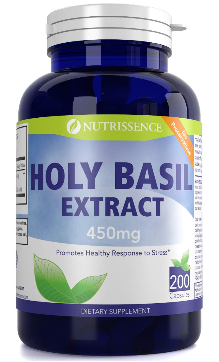 Holy Basil Extract 450mg 200 Capsules - Nutrissence - Supplement