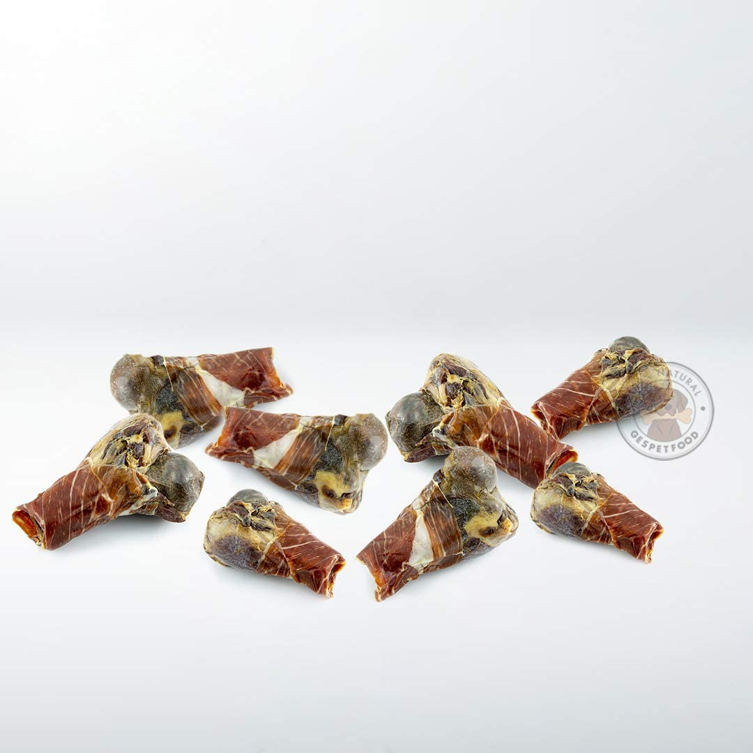 GESPETFOOD - Hueso para Perros - Pack 8 Uds. - Medios Huesos para Perros con jamón Enrollado - Sabor único - Mordedor para Perros - Mantiene Las Encías Saludables - 100% Natural - Fabricado en España