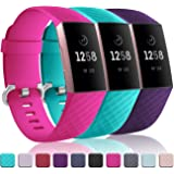 Wepro Waterproof Bands Compatible with Fitbit Charge 3 and Charge 3 SE, 3-Pack Replacement for Women Men, Small, Large