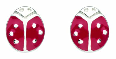 Kit Heath Kids Sterling Silver and Enamel Ladybird Stud Earrings 39068RE OUNCwNg