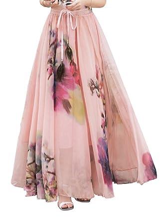 Womens Chiffon Maxi Skirt Summer Floral Printed Ladies Elegant Long