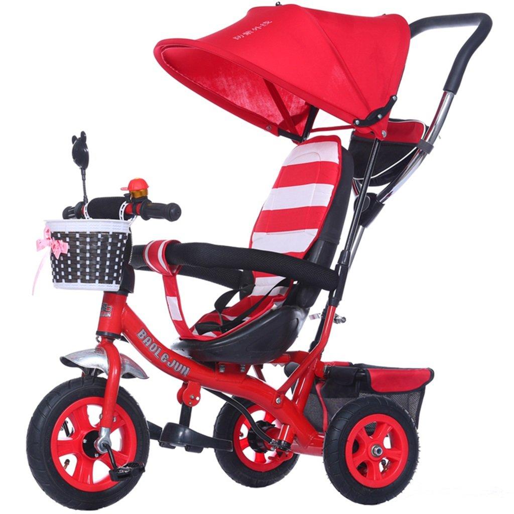 KANGR-子ども用自転車 多機能4-in-1チャイルド三輪車キッドトロリープッシュハンドルステーラー自転車折り畳み式抗UV日よけ| 1-3-6歳の少年少女と赤ちゃんのおもちゃ|ブレーキ付3輪バイク|レッド ( 色 : C型 cがた ) B07BTYBJFWC型 cがた