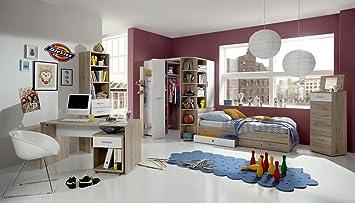 Lifestyle4living 3 Tlg Jugendzimmer In San Remo Eiche Nb Alpinweiss