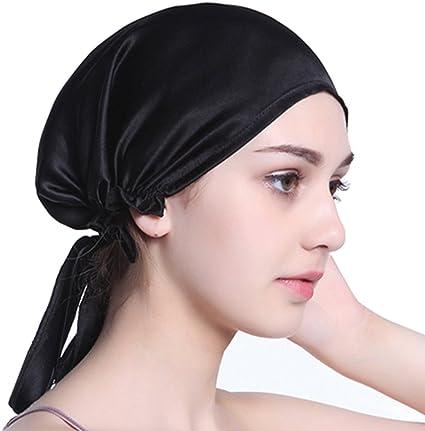 Damen Schlafmütze Satin Cap Seide Schlafhaube Nachthaube Schlaf Hüte Duschhaube