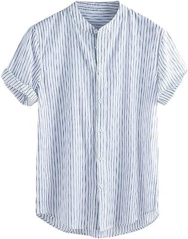 Luckycat Lino Camisetas De Manga Corta para Hombre Tops Retro Blusa Baggy Lino Camisa Hombre Blusa Suelta Casual Transpirable Top de Camisas Sin Cuello de Color Sólido Blusas de Trabajo: Amazon.es: Ropa