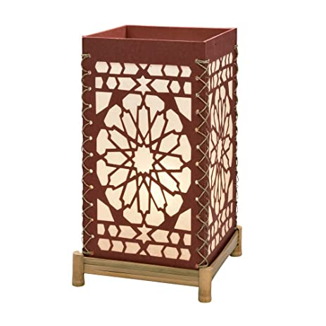Cut Paper Bamboo Table Lamp 15u0026quot; H U0027Rose Window ...