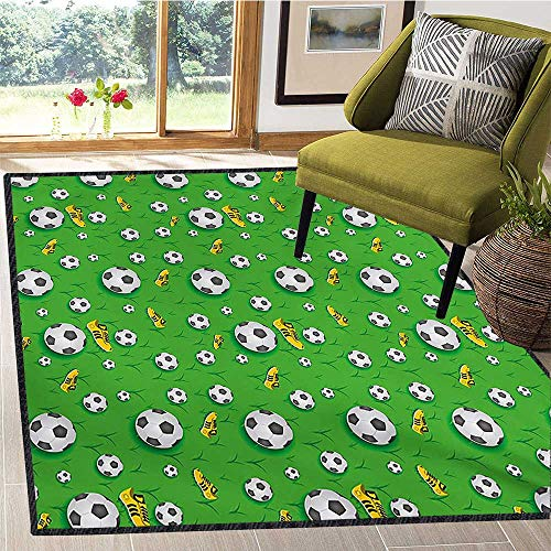 Soccer, Girls Rooms Kids Rooms Nursery Decor Mats, Professional Player Athletics Pattern Football Shoes Balls on Grass, Door Mats for Inside Non Slip Backing 6x9 Ft Lime Green Yellow Black